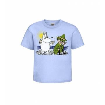 Vaaleansininen Muumi ja Nuuskamuikkunen Lasten T-paita