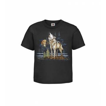 Black Howling wolf Kids T-shirt