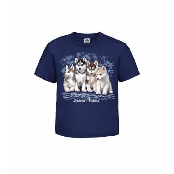 Tummansininen Huskynpennut  Lasten T-paita