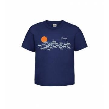 Navy Blue Silver reindeers, Lapland Kids T-shirt