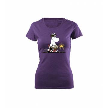 Meleerattu violetti Fotl DC Muumimamma rannalla Slim T-paita