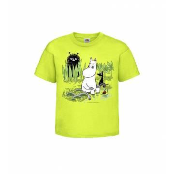 Lime Moomin is fishing  Kids T-shirt