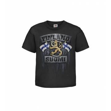 Musta DC Liput ja leijona Lasten T-paita