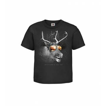Black DC Reindeer and shades Kids T-shirt
