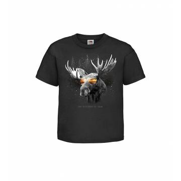 Musta DC Hirvi ja aurinkolasit Lasten T-paita