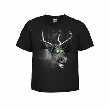 Musta DC Poro ja revontulilasit Lasten T-paita